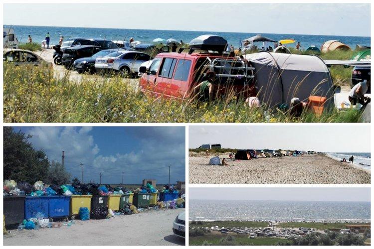 Amenzi de 13000 de lei pentru campare ilegală şi accesul cu maşinile pe plajele de la Vadu şi Corbu