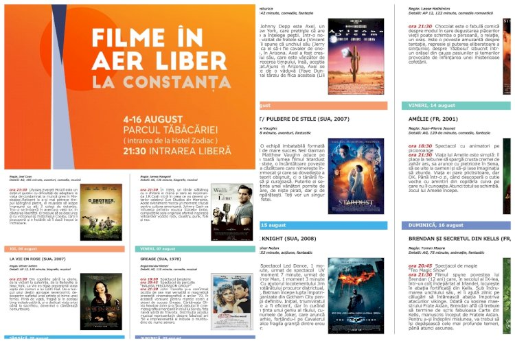 Filme în aer liber revine la Constanța, în parcul Tăbăcărie